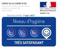 Résultat du contrôle sanitaire de la Fromagerie effectué le 7 septembre 2017 : TRÈS SATISFAISANT